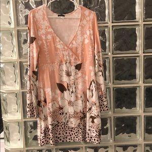 Venus dress peach white brown floral leopard